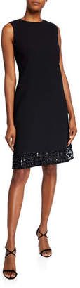 Lafayette 148 New York Morganna Sleeveless Nouveau Crepe Dress w/ Embellished Hem