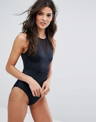 Asos Design DESIGN 'Sculpt Me' Control High Neck Mesh Insert Supportive Swimsuit