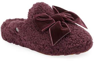 UGG Addison Velvet-Bow Curly Sheepskin Slippers