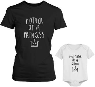 Queen Baby 365 Printing Mother Of Princess Mom Tee Daughter Of Girl Onesie Matching Outfits