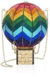 Judith Leiber Couture Swarovski Crystal Rainbow Hot Air Balloon Clutch