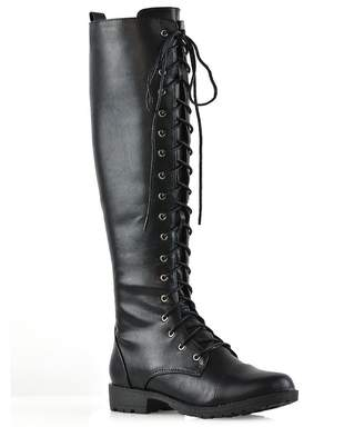 a68f886d3d7c ESSEX GLAM Womens Knee High Boots Lace Up Zip Calf Combat Army Boots