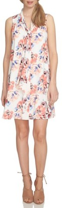 Women's Cece Floral Tie Neck Swing Dress $129 thestylecure.com