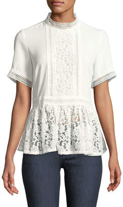 Catherine Malandrino Mock-Neck Lace-Trim Blouse