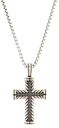David Yurman Diamond Chevron Cross Pendant Necklace