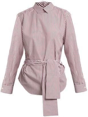 Toga Point-collar tie-waist striped cotton-poplin shirt