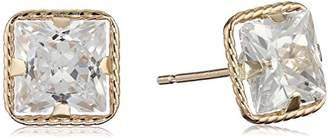 14k Yellow Gold Martini Set Cubic Zirconia Princess-Cut Stud Earrings