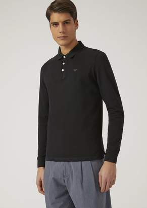 Emporio Armani Long-Sleeved Polo Shirt In Cotton Pique