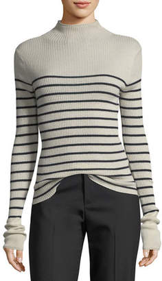 Vince Striped Mock-Neck Cashmere Sweater