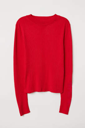 H&M Ribbed Jersey Top - Red