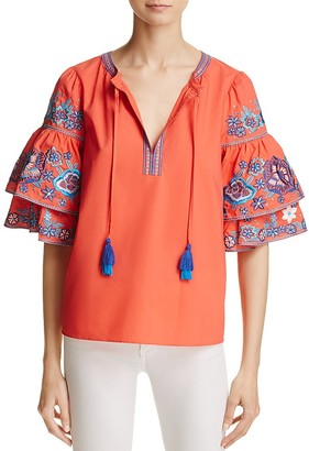 Parker Embroidered Sleeve Shirt $265 thestylecure.com