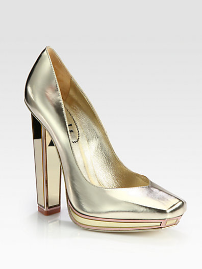 Yves Saint Laurent Metallic Leather Mirror Heel Platform Pumps