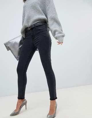 J Brand Alana washed black high rise crop skinny jean with raw hem