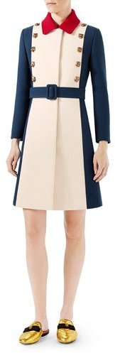 Gucci Wool A-Line Coat, Ivory