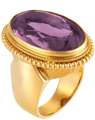 14K Yellow Gold & 18K Rose Gold Amethyst Ring Size 5.5