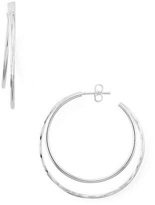 Argentovivo Hammered Crescent Hoop Earrings in Sterling Silver