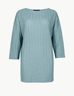 Marks and Spencer Oversized Ribbed Open Knit 3/4 Sleeve Tunic