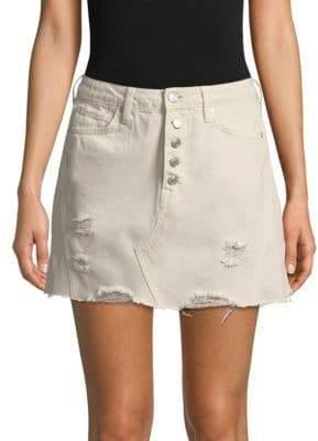 Free People Distressed A-Line Denim Skirt