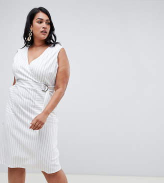 Asos DESIGN Curve Stripe wrap dress with d ring detail