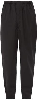 Jacquard Chevron Virgin Wool Poplin Trousers - Mens - Black
