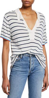 Kule Striped V-Neck Short-Sleeve Top