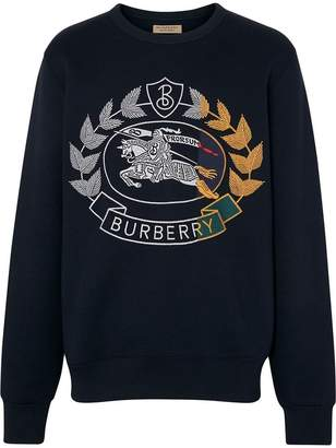Burberry Embroidered Crest Jersey Sweatshirt