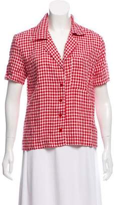 Reformation Gingham Linen Button-Up Blouse w/ Tags