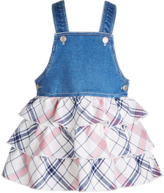 First Impressions Baby Girls Denim & Plaid Jumper, Created for Macy's