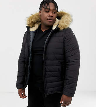 Schott Rocky 2 hooded puffer bomber with detachable faux fur trim in black