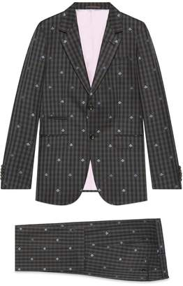 Gucci New Marseille bees wool check suit