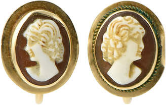One Kings Lane Vintage Victorian Shell Cameo & Gold Earrings - Owl's Roost Antiques