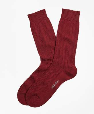 Brooks Brothers Merino Wool Cable Crew Socks