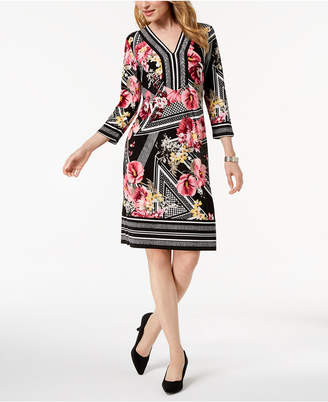 JM Collection Mixed-Print Shift Dress