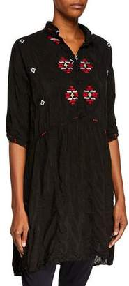 Johnny Was Pocca Half-Sleeve Embroidered Tunic Dress, Plus Size