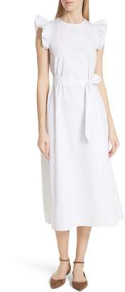 Kate Spade Ruffle Cotton Poplin Dress