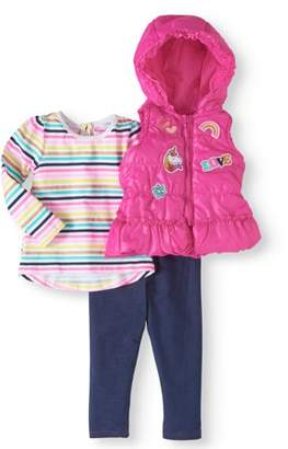 Nannette Baby Toddler Girls' Hooded Puffer Vest, Long Sleeve Top and Leggings 3-Piece Outfit Set
