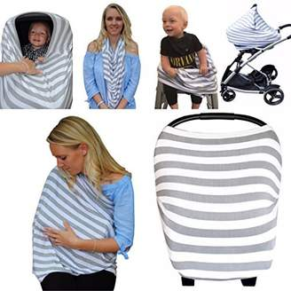Nursing Breastfeeding Cover 5-in-1 Multi-Use Scarf – Breathable Stretchy Fabric – Convertible Nursing Cover