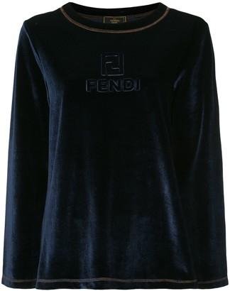 Fendi Pre-Owned logo embossed velour sweater