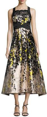 Theia Sleeveless Floral Lace & Satin Cocktail Dress, Black/Yellow $795 thestylecure.com