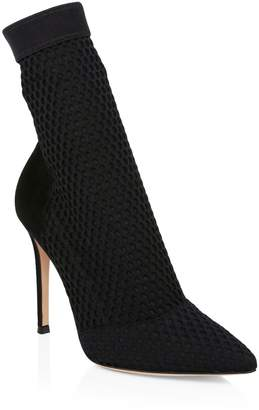 Gianvito Rossi Stretch Mesh & Suede Sock Booties