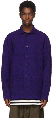 Issey Miyake Blue Ramie Shrink Shirt