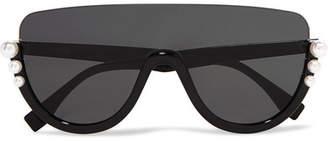 Fendi Faux Pearl-embellished D-frame Acetate Sunglasses - Black