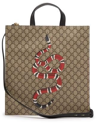 Gucci Gg Supreme And Kingsnake Print Tote Bag - Mens - Beige