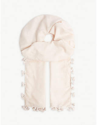 The White Company Tassel cotton and silk-blend scarf