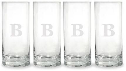 Mikasa Monogram B Highball Glasses, Set of 4