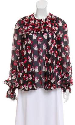 Giamba Printed Silk Top