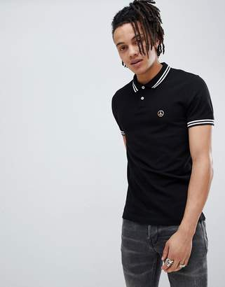Love Moschino polo with logo in black