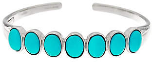 QVC Oval Sleeping Beauty Turquoise Sterling HingedCuff