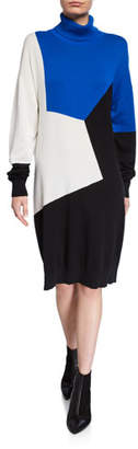 Joan Vass Colorblock Turtleneck Cotton Sweaterdress