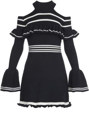 46522768ebf at Italist · Self-Portrait Self Portrait Striped Frill Knit Dress